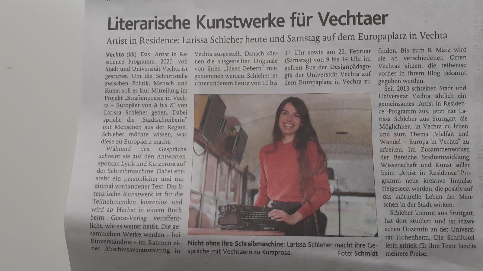 Literarische Kunstwerke für Vechtaer